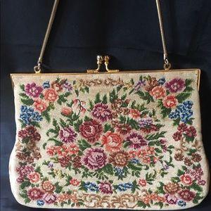 Vintage Petit Point Tapestry Purse Handbag